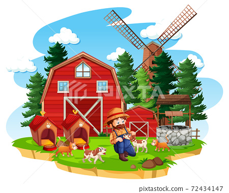 Farm with red barn and windmill on white background 72434147