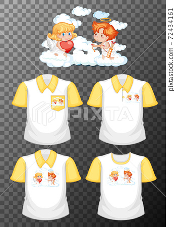 Little angle cartoon character with set of different shirts isolated on transparent background 72434161