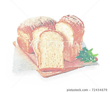 부드러운 산형 식빵 수채화 화풍 72434879