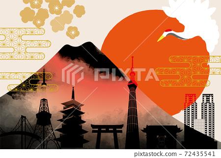 일본 도쿄 후지산의 아름다운 일본식 이미지 배경 일러스트 72435541