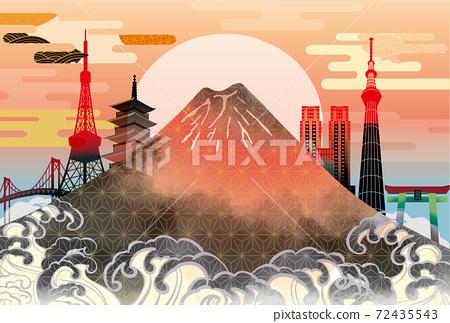 일본 도쿄 후지산의 아름다운 일본식 이미지 배경 일러스트 72435543