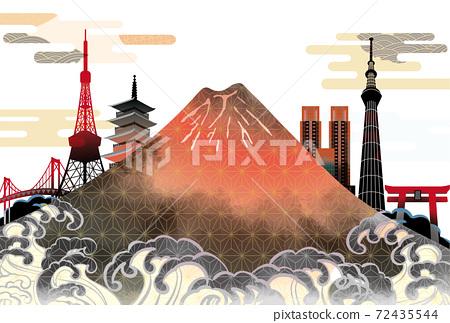 일본 도쿄 후지산의 아름다운 일본식 이미지 배경 일러스트 72435544