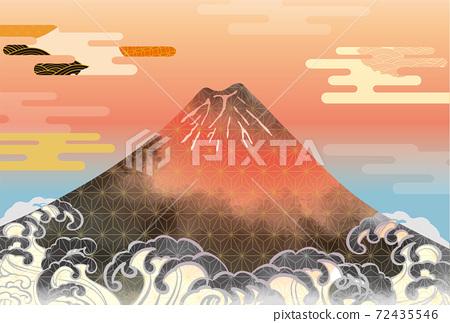 일본 후지산의 아름다운 일본식 이미지 배경 일러스트 72435546