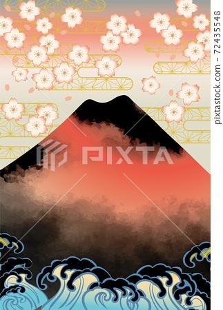 일본 후지산의 아름다운 일본식 이미지 배경 일러스트 72435548
