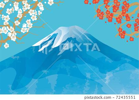 일본 후지산의 아름다운 일본식 이미지 배경 일러스트 72435551