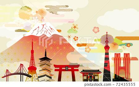 일본 후지산의 아름다운 일본식 이미지 배경 일러스트 72435555