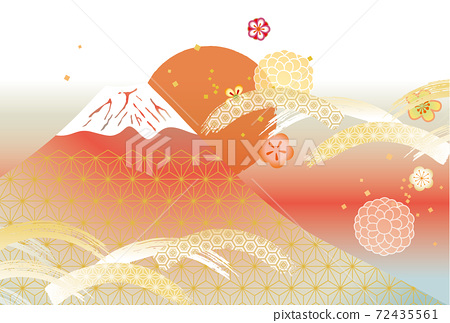 일본 후지산의 아름다운 일본식 이미지 배경 일러스트 72435561