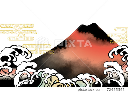 일본 후지산의 아름다운 일본식 이미지 배경 일러스트 72435563