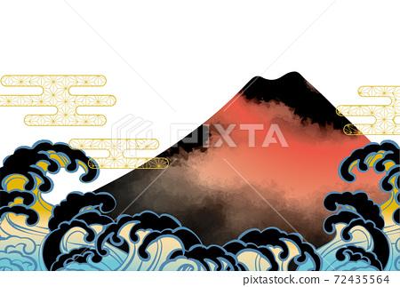 일본 후지산의 아름다운 일본식 이미지 배경 일러스트 72435564