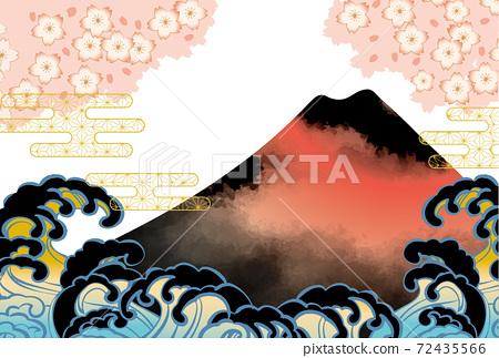 일본 후지산의 아름다운 일본식 이미지 배경 일러스트 72435566