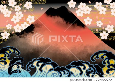 일본 후지산의 아름다운 일본식 이미지 배경 일러스트 72435572