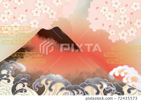 일본 후지산의 아름다운 일본식 이미지 배경 일러스트 72435573