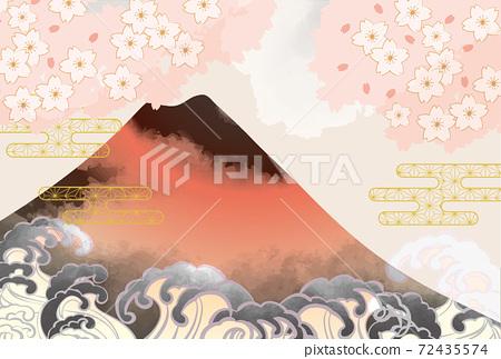 일본 후지산의 아름다운 일본식 이미지 배경 일러스트 72435574