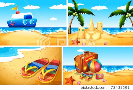 Set of sandy beach background 72435591