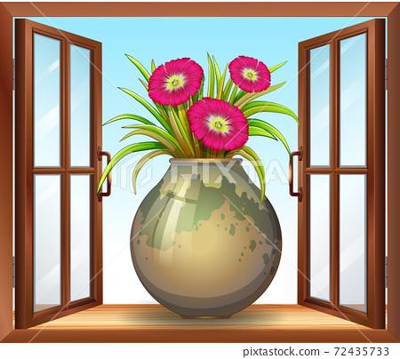 Flower in vase near window 72435733