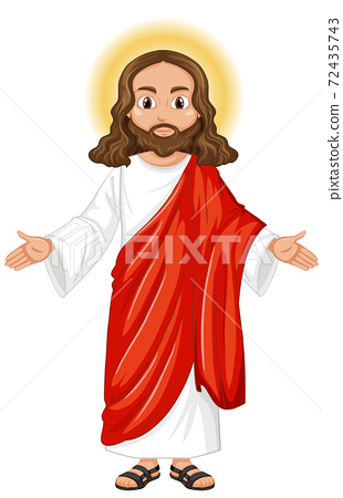 Jesus preaching in standing position character 72435743