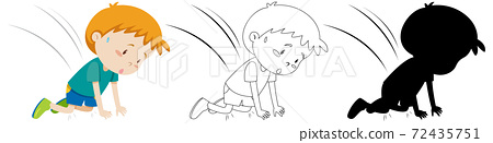 Boy accident fall down on the fall in colour and silhouette and 72435751