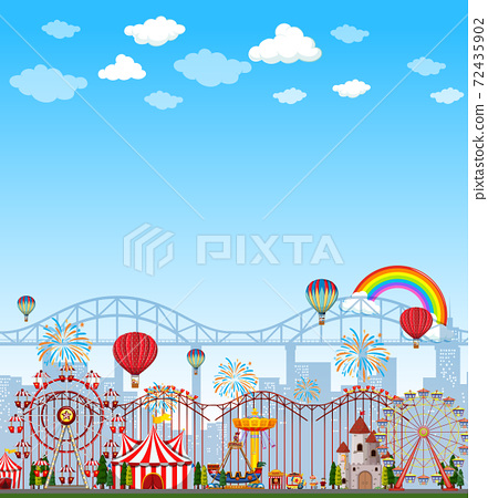 Amusement park scene at daytime with blank bright 72435902