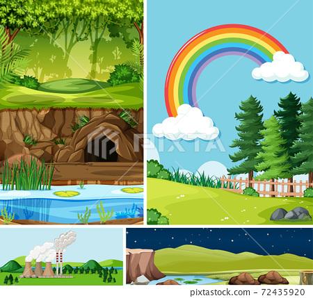 Four different scenes in nature setting cartoon 72435920