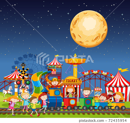 Amusement park scene at night with big moon in the 72435954