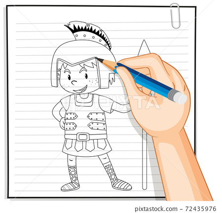 Hand drawing of knight cartoon outline 72435976
