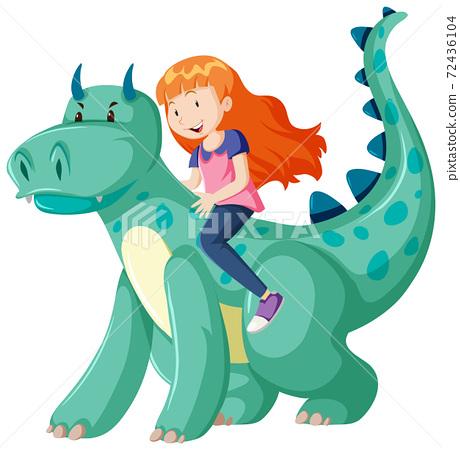 Girl riding on dinosaur cartoon character isolated 72436104