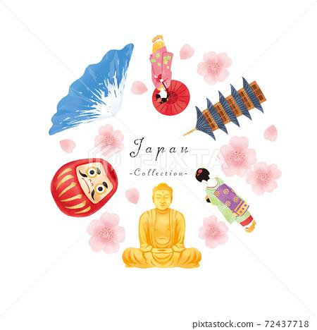 春天舞妓,富士山,大佛和廟宇的日本形象集 72437718