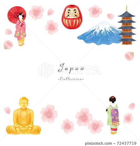 春天舞妓,富士山,大佛和廟宇的日本形象集 72437719