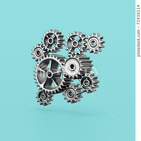 Metallic Gears on Blue Background 72438114