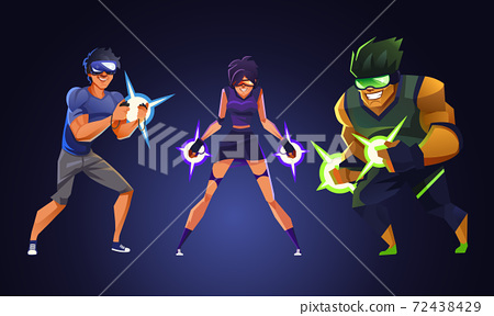 Virtual reality gamer, Vector illustration. 72438429