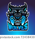 The wolf bite joypad, Mascot logo, Vector illustraion. 72438430