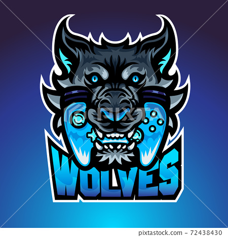 The wolf bite joypad, Mascot logo, Vector illustraion. 72438430