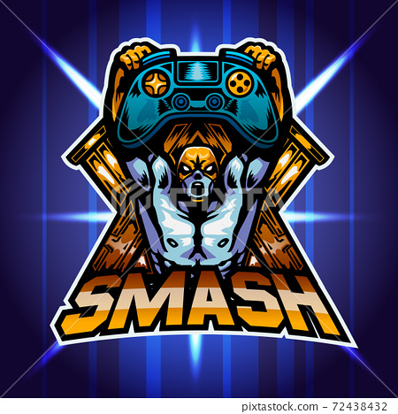 The wrestler lift game joy pad, Mascot logo, Vector illustration. 72438432