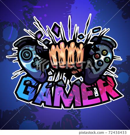 Hand crush on broken game joy pad, Mascot logo, Vector illustration 72438433
