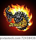 Demon skeleton on fire, Mascot logo vector illustration. 72438436