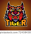 The tiger bite a game pad, Mascot logo vector illustration. 72438438
