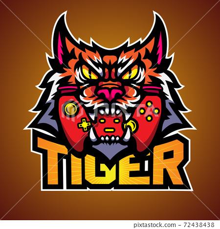 The tiger bite a game pad, Mascot logo vector illustration. 72438438