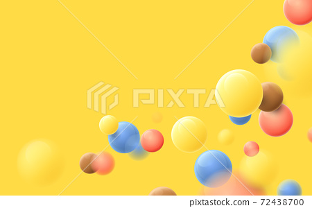 Abstract multicolored balls flying particles on a yellow background. Vector illustration 72438700