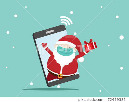 santa claus with gift box on mobile 72439383
