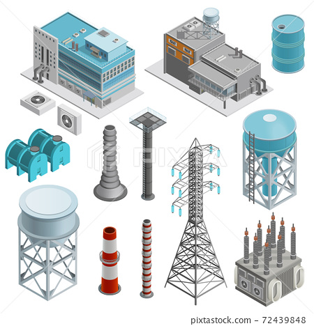 Industrial Buildings Isometric Icons Set 72439848