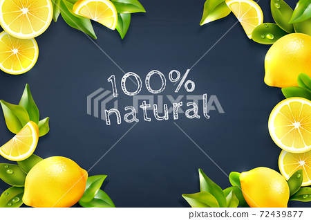 Citrus Lemon Frame Blackboard Background Poster 72439877
