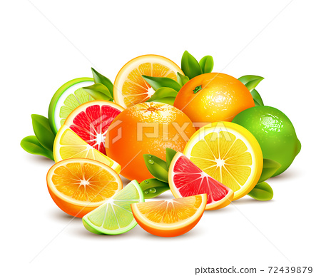 Citrus Fruits Collection Realistic Composition 72439879
