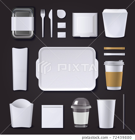 Burger Bar Packaging Realistic Set 72439880