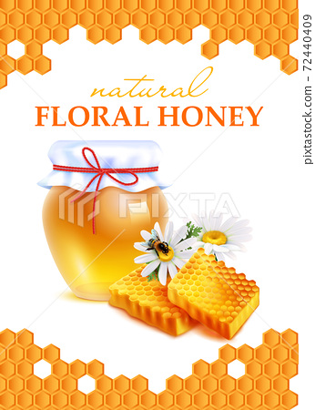 Natural Floral Honey Realistic Poster 72440409