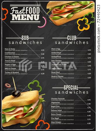 Fast Food Sandwiches Menu Advertisement Poster 72440423