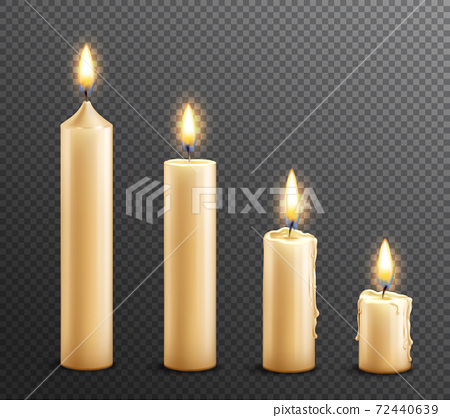 Burning Candles Realistic Transparent Background 72440639