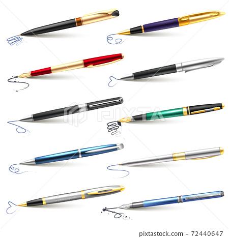 Business Fountain Pen Icon Set 72440647