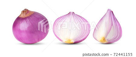 Red onion on white background 72441155