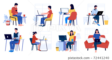 Business characters working. Cartoon men and women sitting in office and at home with laptop and working. Vector set of office people 72441240
