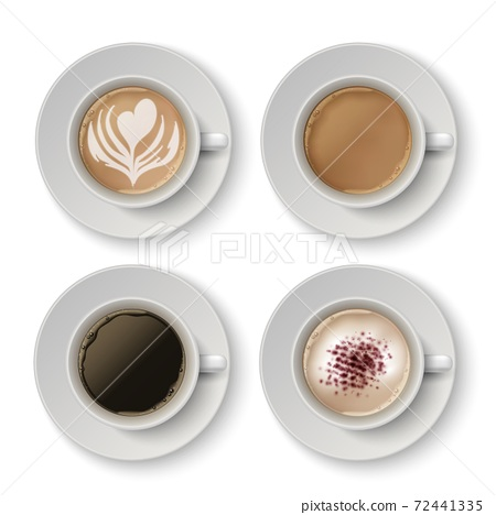 Coffee cups. Realistic espresso, latte or cappuccino. 3D white mugs and saucer with hot beverage. Caffeine drinks, drawings on milk foam. Menu decoration template, vector barista set 72441335